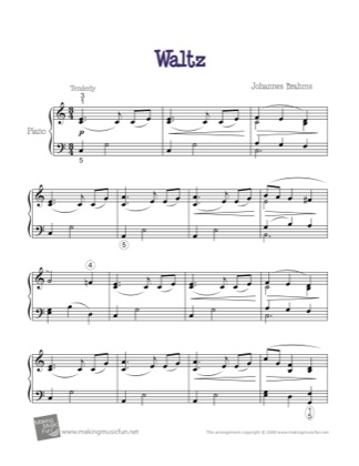 Thumbnail of first page of Waltz in Ab piano sheet music PDF by Kids.