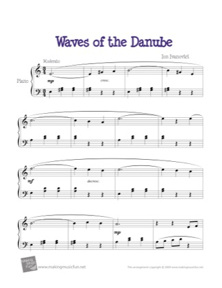 Thumbnail of first page of Waves of the Danube piano sheet music PDF by Kids.
