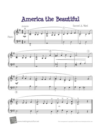 Thumbnail of first page of America the Beautiful piano sheet music PDF by Samuel A. Ward.