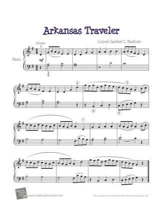 Print and download for free: Arkansas Traveler piano sheet music by Kids.