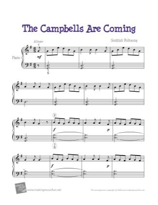 Thumbnail of first page of The Campbells Are Coming piano sheet music PDF by Kids.