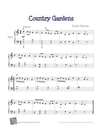 Thumbnail of first page of Country Gardens piano sheet music PDF by Kids.