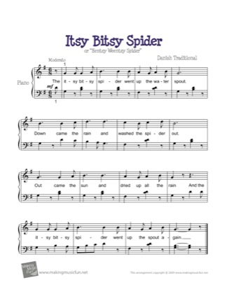 Thumbnail of first page of Itsy Bitsy Spider piano sheet music PDF by Kids.