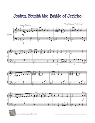 Thumbnail of first page of Joshua Fought the Battle of Jericho piano sheet music PDF by Kids.
