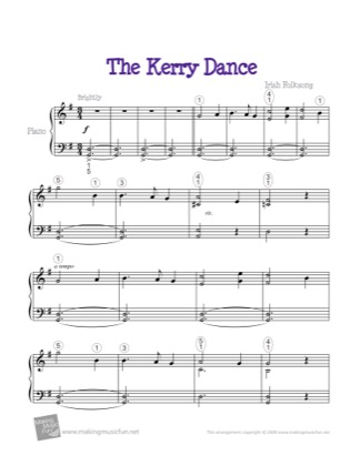 Thumbnail of first page of The Kerry Dance piano sheet music PDF by Kids.