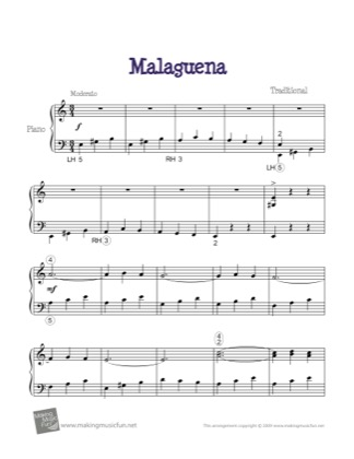 Thumbnail of first page of Malaguena piano sheet music PDF by Traditional.