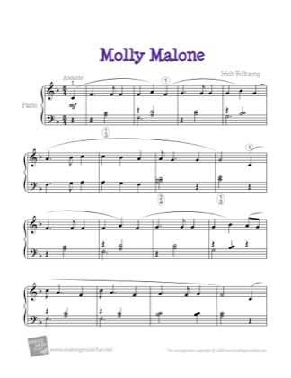 Thumbnail of first page of Molly Malone (Cockles and Mussels) piano sheet music PDF by Kids.