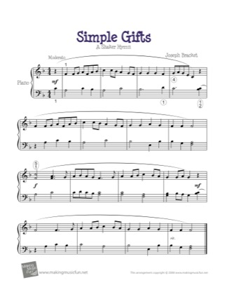 Thumbnail of first page of Simple Gifts piano sheet music PDF by Kids.