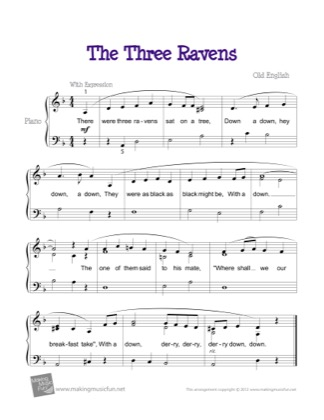 Thumbnail of first page of The Three Ravens piano sheet music PDF by Kids.