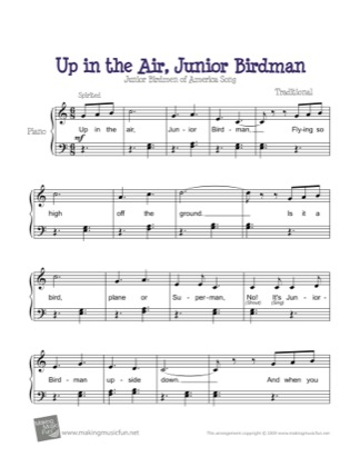 Thumbnail of first page of Up in the Air, Junior Birdman piano sheet music PDF by Kids.