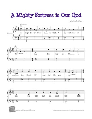 Thumbnail of first page of A Mighty Fortress is Our God piano sheet music PDF by Kids.