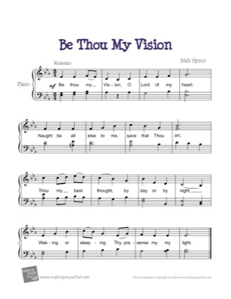 Thumbnail of first page of Be Thou My Vision piano sheet music PDF by Hymn.