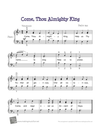 Thumbnail of first page of Come, Thou All Mighty King piano sheet music PDF by Kids.