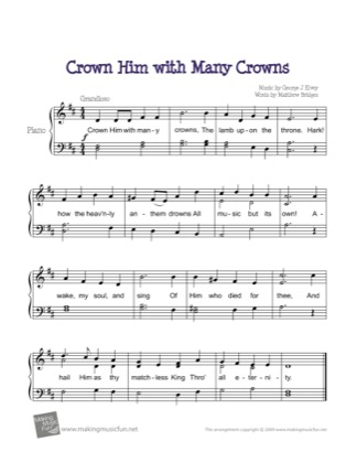 Thumbnail of first page of Crown Him with Many Crowns piano sheet music PDF by Kids.