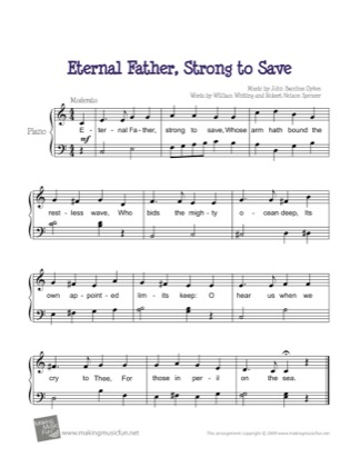 Thumbnail of first page of Eternal Father, Strong to Save piano sheet music PDF by Kids.