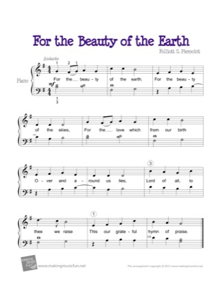 Preview of First Page of For the Beauty of the Earth sheet music by Kids