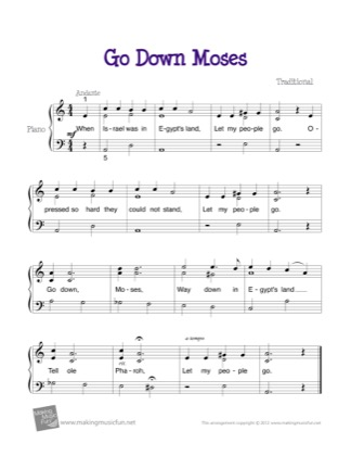 Thumbnail of first page of Go Down Moses piano sheet music PDF by Kids.