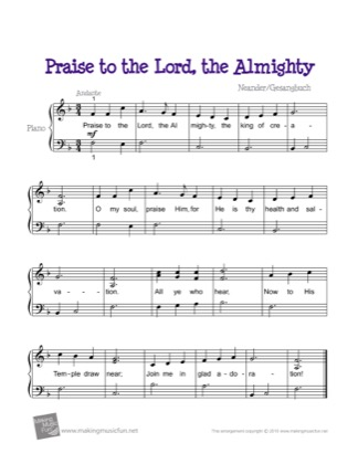 Thumbnail of first page of Praise to the Lord, the Almighty piano sheet music PDF by Kids.