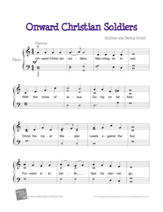 Thumbnail of first page of Onward Christian Soldiers piano sheet music PDF by Kids.