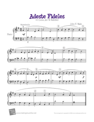 Thumbnail of first page of Adeste Fideles (O Come All Ye Faithful) piano sheet music PDF by Christmas.