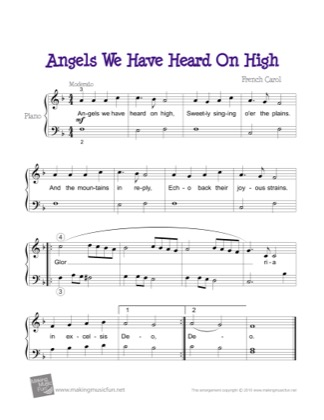 Thumbnail of first page of Angels We Have Heard On High piano sheet music PDF by Kids.