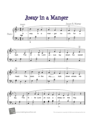 Thumbnail of first page of Away in a Manger (2) piano sheet music PDF by Christmas.