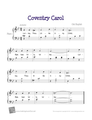 Thumbnail of first page of Coventry Carol piano sheet music PDF by Kids.
