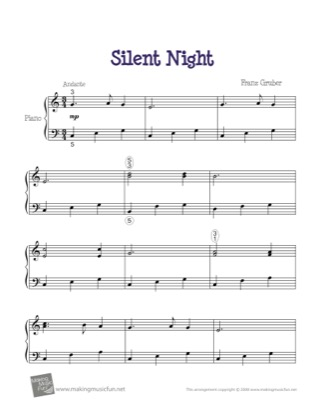 Thumbnail of first page of Silent Night piano sheet music PDF by Christmas.