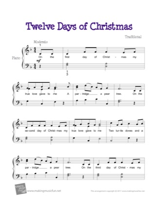 Thumbnail of first page of Twelve Days of Christmas piano sheet music PDF by Christmas.