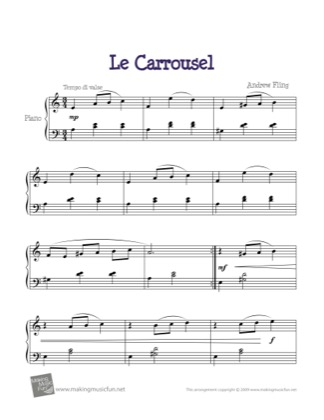 Thumbnail of first page of Le Carrousel piano sheet music PDF by Kids.