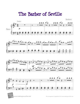 Thumbnail of first page of Barber of Seville piano sheet music PDF by Kids.