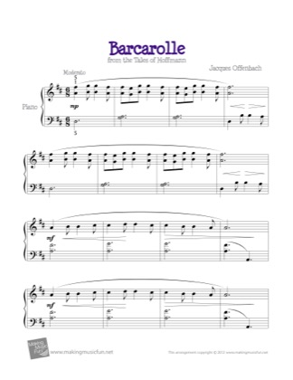 Thumbnail of first page of Barcarolle piano sheet music PDF by Kids.