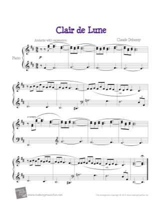 Thumbnail of first page of Clair de Lune piano sheet music PDF by Debussy.