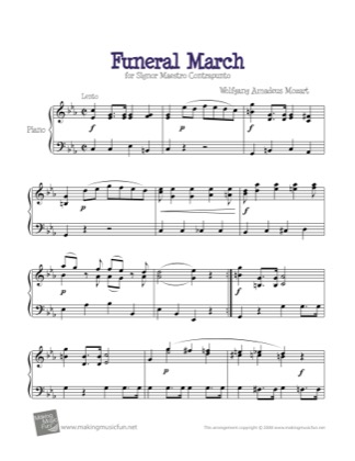 Thumbnail of first page of Funeral March (Mozart) piano sheet music PDF by Kids.