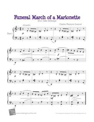 Thumbnail of first page of Funeral March of a Marionette piano sheet music PDF by Kids.