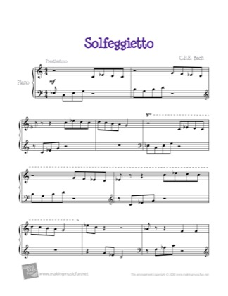 Thumbnail of first page of Solfeggietto piano sheet music PDF by Kids.