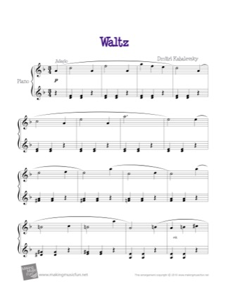 Thumbnail of first page of Waltz piano sheet music PDF by Kids.