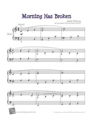 Thumbnail of first page of Morning Has Broken piano sheet music PDF by Kids.