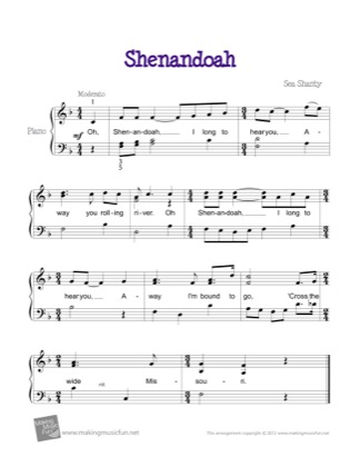 Thumbnail of first page of Shenandoah piano sheet music PDF by Kids.