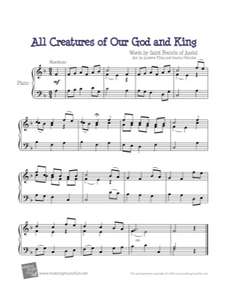 Thumbnail of first page of All Creatures of Our God and King piano sheet music PDF by Kids.