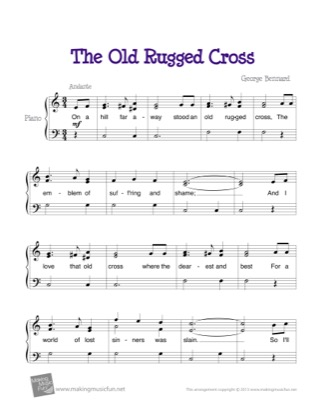 Thumbnail of first page of The Old Rugged Cross piano sheet music PDF by George Bennard.