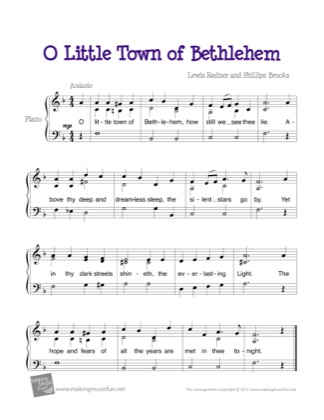 Thumbnail of first page of O Little Town of Bethlehem piano sheet music PDF by Christmas.