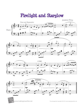 Thumbnail of first page of Firelight and Starglow piano sheet music PDF by Kids.