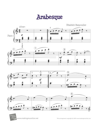 Thumbnail of first page of Arabesque piano sheet music PDF by Kids.
