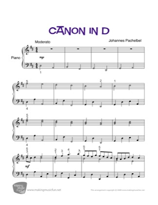 Thumbnail of first page of Canon in D piano sheet music PDF by Kids.