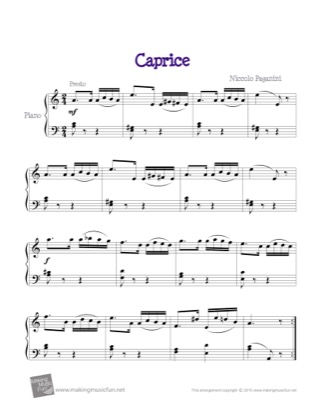 Thumbnail of first page of Caprice piano sheet music PDF by Kids.
