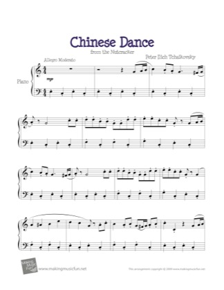 Thumbnail of first page of Chinese Dance (Nutcracker) piano sheet music PDF by Kids.