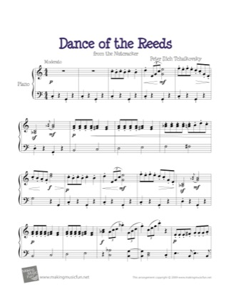 Thumbnail of first page of Dance of the Reeds (Nutcracker) piano sheet music PDF by Kids.