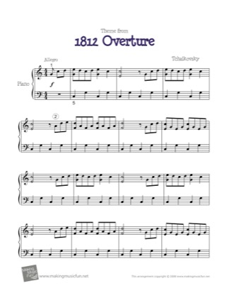 Thumbnail of first page of Theme from 1812 Overture piano sheet music PDF by Tchaikovsky.