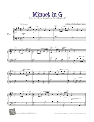 Thumbnail of first page of Minuet in G piano sheet music PDF by Bach.